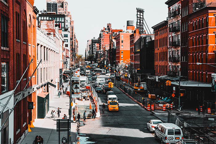 View of the street from High Line Park